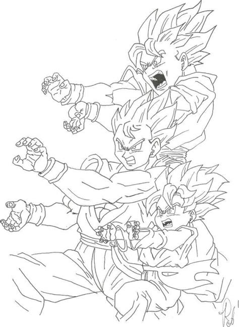 dragon ball z coloring pages goku kamehameha goku and his sons unleashing kamehameha in dragon ball z