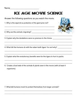 film review quiz ice age movie questions ecology review by scienceisfun tpt
