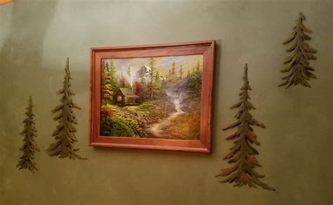 rustic evergreen pine forest tree metal wall decor set