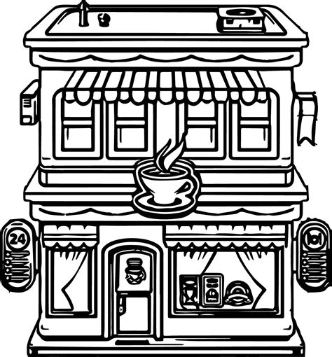 coloring pages for restaurants building restaurant coloring page wecoloringpage
