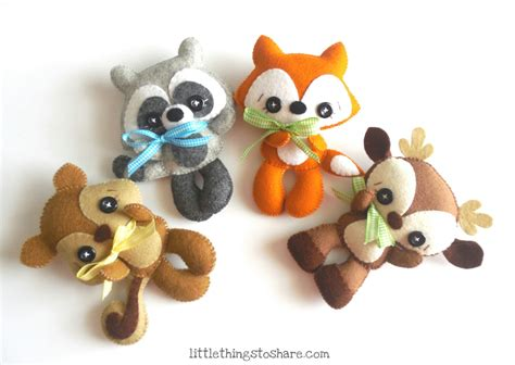 Woodland Animals set of Four PDF sewing pattern Deer, Fox