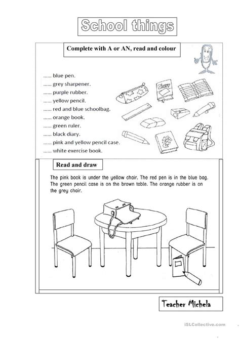 School Things A An Prepositions Worksheet Free Esl Printable Worksheets Made By Teachers School Worksheet Printables