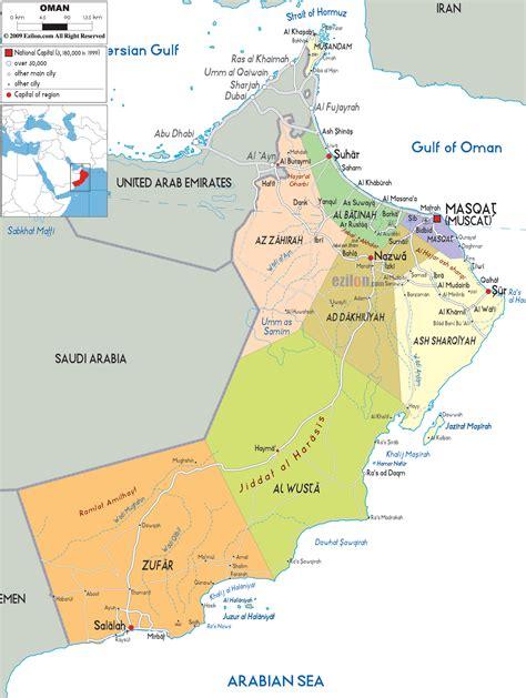 oman political map political map of oman ezilon maps