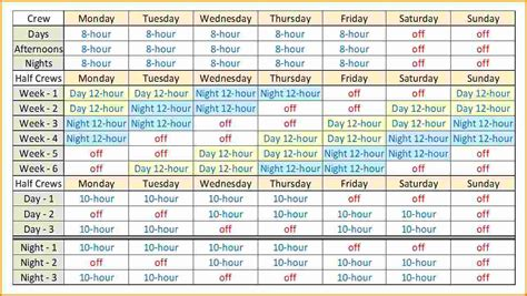12 Hour Shift Schedule Template 7 shift schedule template authorization letter