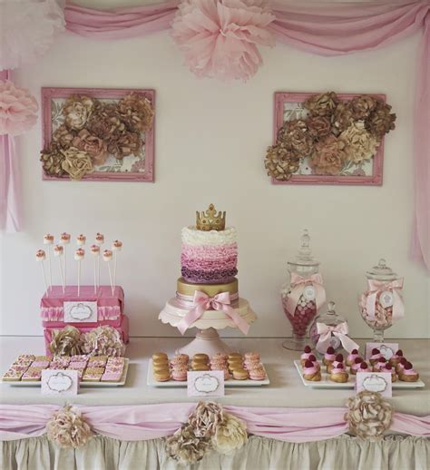 princess theme decorations and sweet pink and gold decorated shabby chic