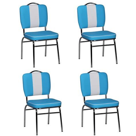4x design dining chair set american diner 50s retro blue