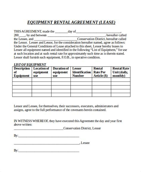 rental agreement form 10 free word pdf documents