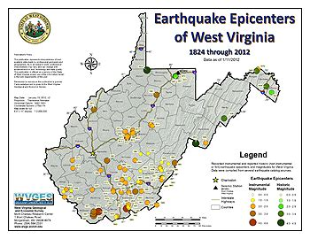 maryland earthquake map seismicity in west virginia and region
