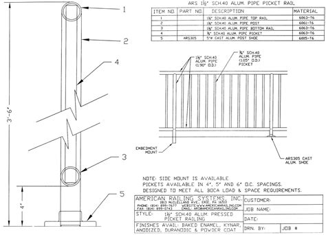 handrail section cad details american railing systems inc