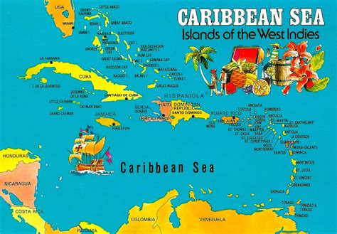 map caribbean islands caribbean sea islands of the west indies this map postcard