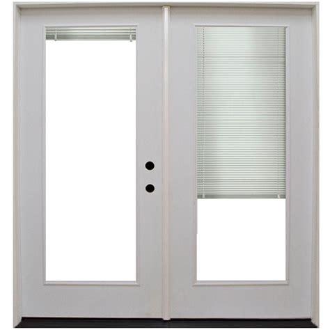 Mini Blinds For Patio Doors Steves Sons 64 In X 80 In Primed White Fiberglass Prehung Left Inswing Mini Blind Patio