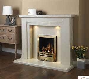 pureglow hanley marble fireplace suite with downlights