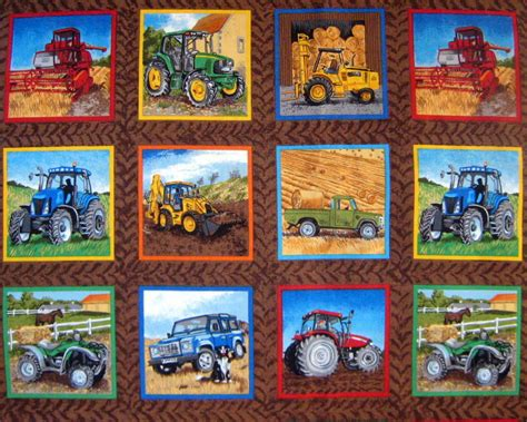 Fabric Quilt Labels Yard by Tractor Labels Farm Cotton Quilting Squares Fabric Makower