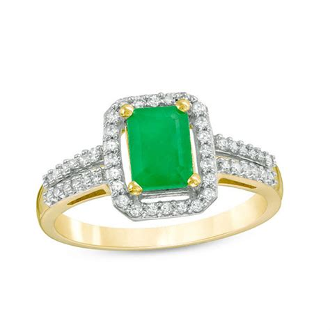 emerald cut emerald and 1 4 ct t w frame ring in