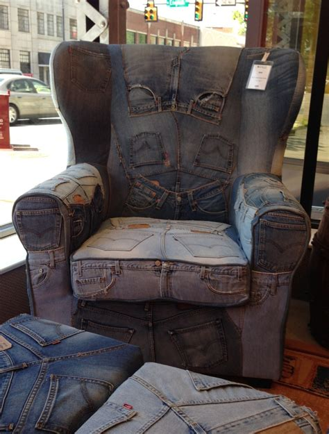 blue denim chair and ottoman recylcled blue jean chair and ottoman so cool things