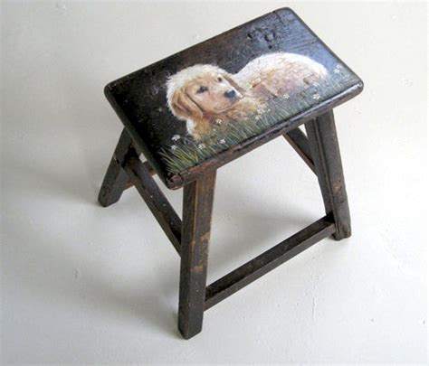Painted Step Stools by Golden Retriever Painted On Step Stool Farmhouse