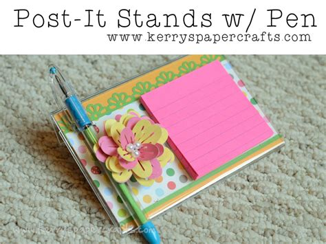 How To Make Pen Stand Using Paper - diy post it stands with pen tutorial great gifts