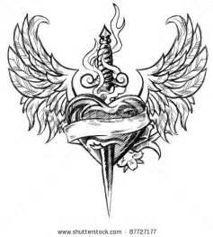 Winged heart n dagger tattoo design tattoobite com