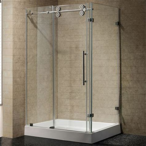 48 Sliding Shower Door Vigo Vg6051stcl48wl 36 Quot X 48 Quot Frameless 3 8 Quot Shower Enclosure In Clear Stainless Steel With Left