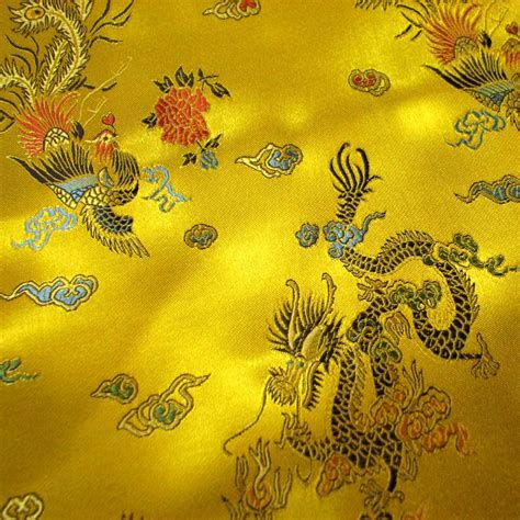 Country Curtains Free Shipping Bright Yellow Dragon And Phoenix Brocade Fabric Silk Satin