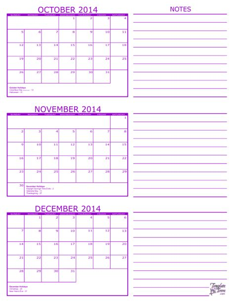 printable calendar 2014 october november december 3 month calendar 2014