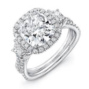 Cushion Cut 3 Engagement Rings Uneek Three Engagement Ring With 3 Carat Cushion Cut