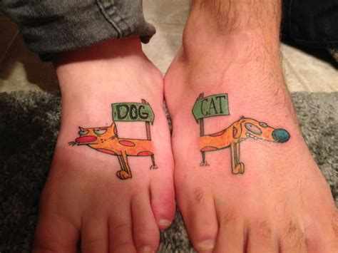 couple foot tattoos on