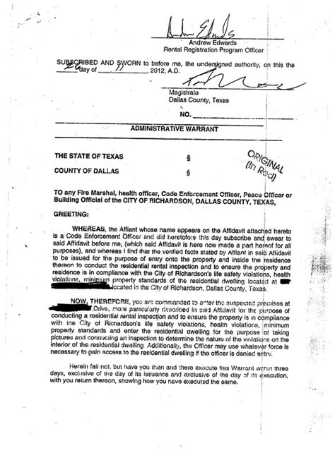 Administrative Search Warrant Officer Images