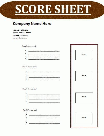 score card css template 24 score sheet templates sheet templates