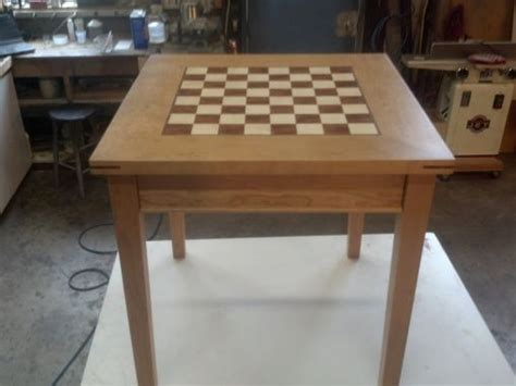 modern chess table crafted cherry chess table by puddle town woodworking