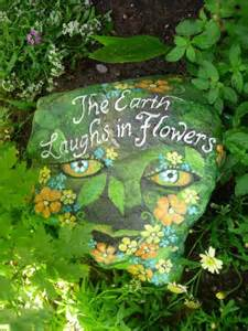 Painted Garden Rocks The Earth Laughs In Flowers Painted Garden Rock Theres Something About This I