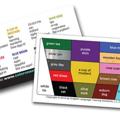 color vowel chart mini chart audio files for use with our color vowel mini