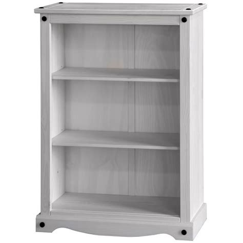 white low bookcase coroner low bookcase in white washed pine with 2 shelf