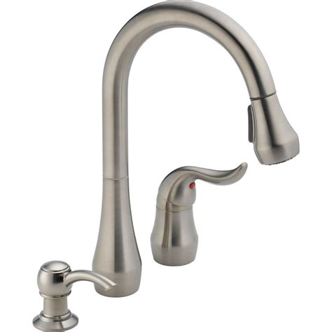 peerless kitchen faucet peerless apex single handle pull sprayer kitchen faucet with soap dispenser in stainless