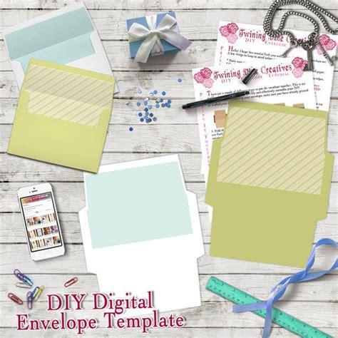 Diy Envelope Template A7 5x7 Envelope Template Digital Download Green And White Envelope Diy Card Template