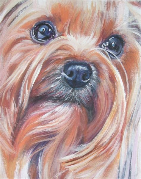 yorkie painting terrier yorkie portrait canvas print of la shepard