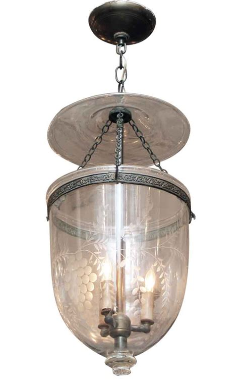 glass jar pendant light etched clear glass bell jar pendant light olde things