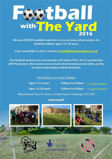 the backyard session exciting new football session with the yard lothian