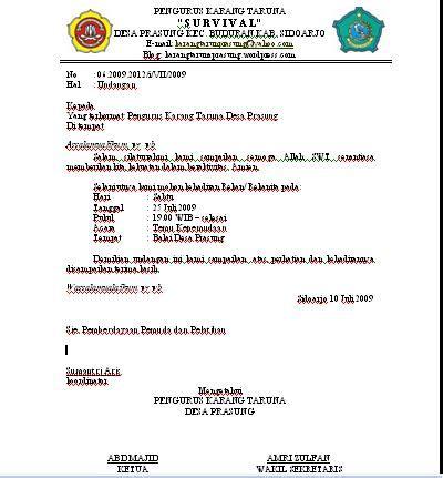 Contoh Berita Acara Rapat Organisasi by Contoh Undangan Oleh Sie Karang Taruna Desa Prasung
