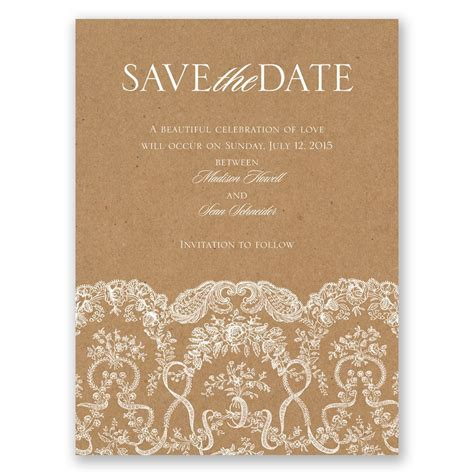 lace for card lace on kraft save the date card invitations by