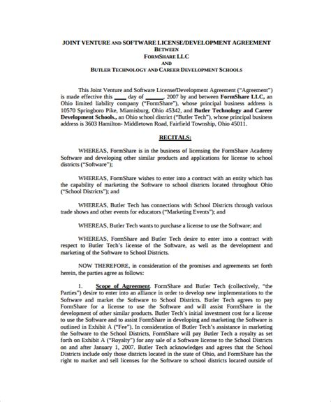 development agreement template sle software development agreement template 9 free