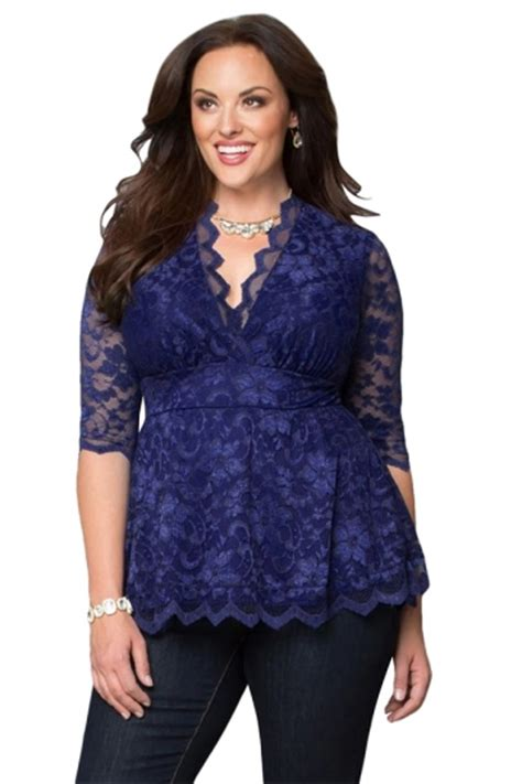 Blouse Fashions Import 010 Blue Pink womens v neck 3 4 length sleeve plus size lace blouse sapphire blue pink
