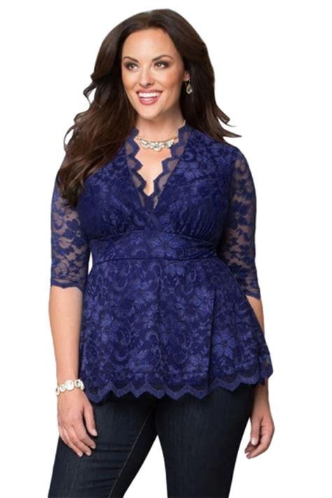 Fashions Import Ww31069 Blouse Black Khaki Green womens v neck 3 4 length sleeve plus size lace blouse sapphire blue pink