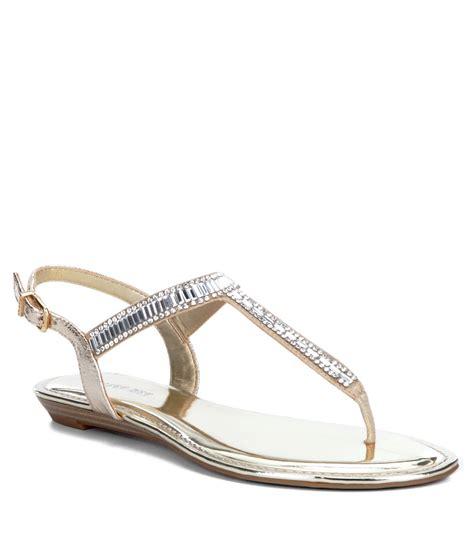 bone colored sandals gianni bini precious metallic fabric jeweled t