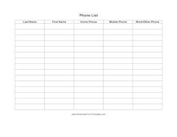 best photos of name and phone list printable printable phone list