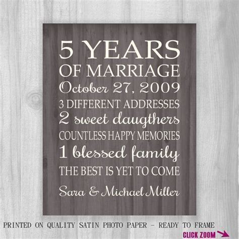 5th Anniversary Gift Print FAUX Wood 5 Years 10, 15, 20
