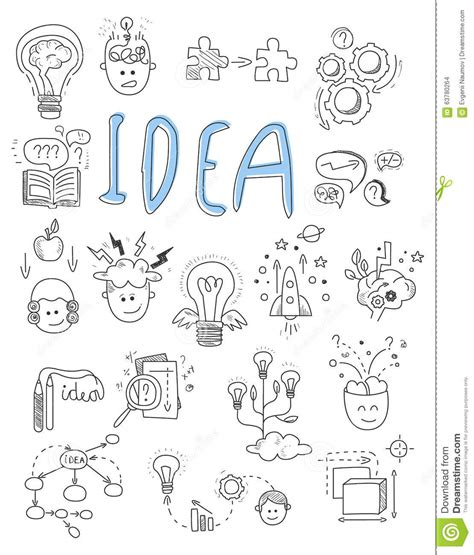 doodle 4 my invention idea brainstorming icons in doodle style vector stock