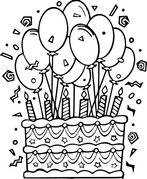 free coloring page of a cake birthday cake coloring pages wecoloringpage com