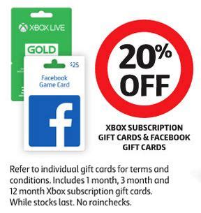 Xbox Live Gift Card Sale - expired 20 off facebook and xbox live gift cards at coles gift cards on sale
