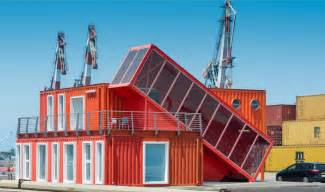 Google Tel Aviv Office 7 bright red shipping containers repurposed as modern